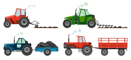 Set if farm tractors cultivates the land or carries a trailer. Heavy agricultural machinery for field work transport for farm in flat style. Isolated flat style, vector illustration.
