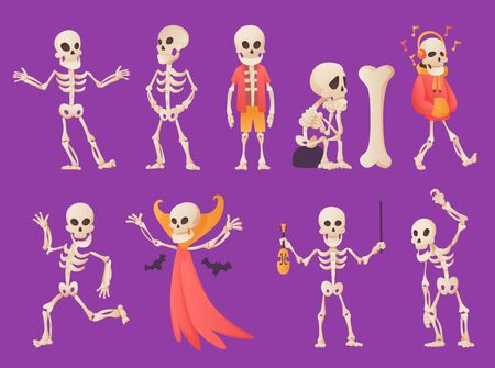 Funny cartoon skeleton. Vector bony character. Human bones illustration skeletal. Set of dead people dancing, standing, listen music on color background