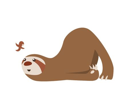 Cute baby sloth lies and looks at the bird. Adorable cartoon animal. Funny cartoon sloth sleeping with full belly. Cute lazy character vector illustration. Illustration