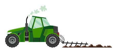 Green farm tractor cultivates the land. Heavy agricultural machinery for field work transport for farm in flat style. Farm tractor icon. Isolated flat style, vector illustration Çizim