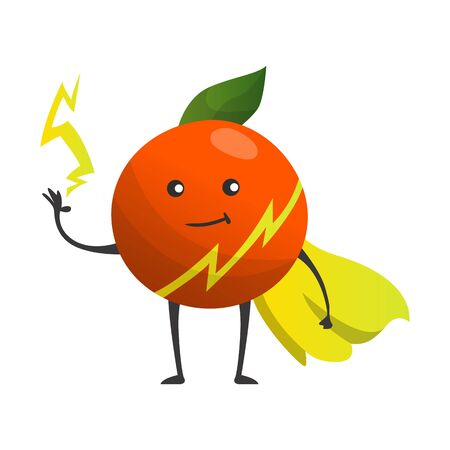 Cartoon superhero orange. Fruit in cape with hands up. Cute childish cartoon character. Funny cartoon fruit in superhero costume.