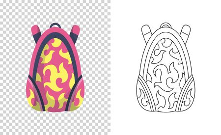 Colorful backpack of pupil. Kids school bag. Extravagant student satchel. Education and study, school backpack icon. Sketch and color style vector illustration 일러스트