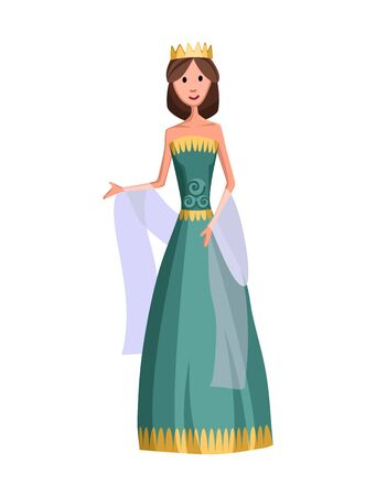 Isolated medieval princess character with royal clothes on white background. Fairy tale. Fantastic kingdom character. Monarch vector cute clip art 向量圖像