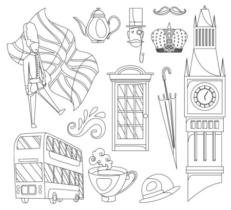 Hand drawn doodle United Kingdom. Set vector illustration UK icons. Welcome to London elements. Britannia symbols collection. Sketch coloring style. 向量圖像