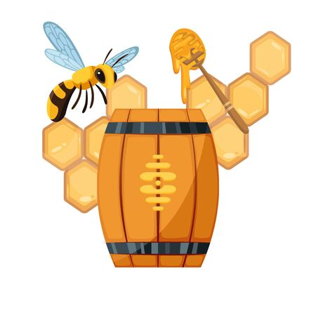 Honey beekeeping poster of honeycomb, wooden barrel and jar with honey drops and dipper spoon.Organic product, traditional and healthy food, sweet delicacy. Vector bees swarm.