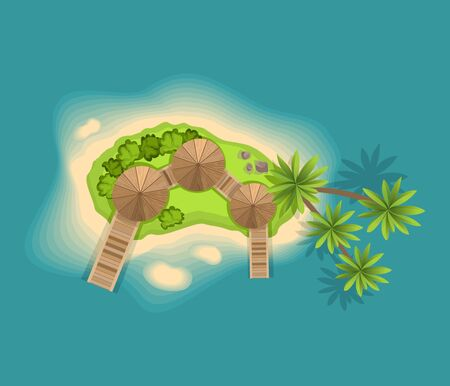 Top view island. View from a height on a tropical island in the ocean. Vector cartoon tropical paradise sea island shore. Good sunny day