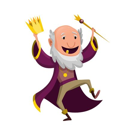 Cartoon king wearing crown and mantle. Old king in good spirits dancing. Color vector illustration Ilustracje wektorowe