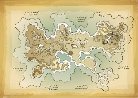 Retro styled treasure map. Vector design for app game user interface. Vintage adventure and discovery travel routes. Векторная Иллюстрация