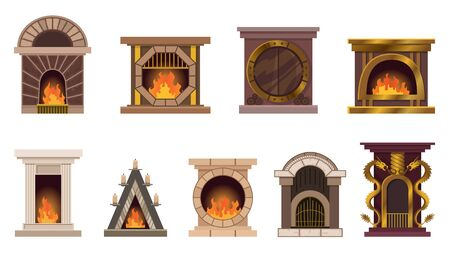Vector set of home fireplaces with fire. Different design of fireplaces. Flat icon design. Illustration isolated on white background. Ilustração