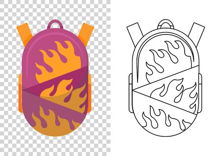 Colorful school backpack. Education and study, backpack icon. Extravagant student satchel. Kids school bag. Sketch and color style vector illustration on transparent background