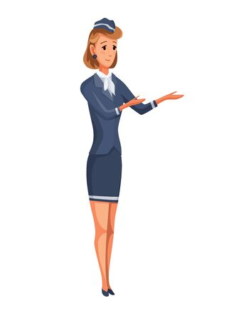Plane crew. Stewardess give instruction in business class of aircraft. Airline transportation service. Vector staff illustration