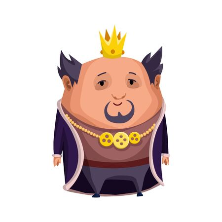 Cartoon king wearing crown and mantle. Fat king standing. Color vector illustration