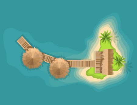 Top view island. View from a height on a tropical island in the ocean. Vector cartoon tropical paradise sea island shore. Good sunny day.