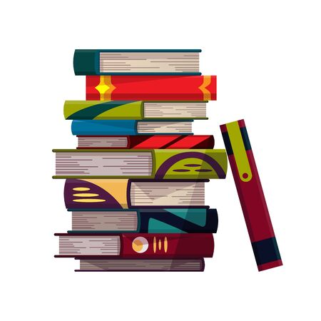 Stack of colorful books on a white background. Pile of education books vector. Illustration in flat style. Knowledge concept. Reading, learning and receive education through books.