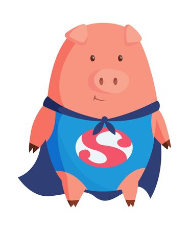 Cartoon pig in superman clothing. Illustration for funny kids game. T-shirt vector logo design