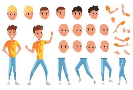 Young man character creation set. Full length, different views, emotions, gestures, isolated against white background. Build your own design. Cartoon flat-style infographic illustration