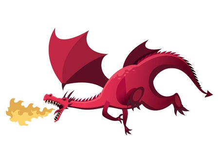 Medieval Kingdom Character. Isolated dragon who breathes fire on a white background. Vector personage Ilustração