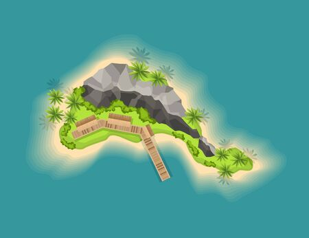 Top view island with volcano. View from a height on a tropical island in the ocean. Vector cartoon tropical paradise sea island shore. Good sunny day