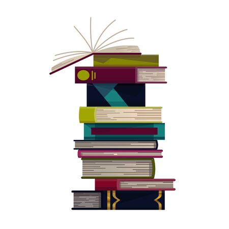 Stack of colorful books on a white background. Pile of education books vector. Illustration in flat style. Knowledge concept. Reading, learning and receive education through books