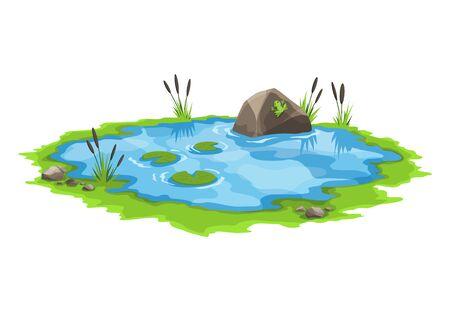 Étang d'eau pittoresque entouré de roseaux et de pierres. Le concept d'un petit lac marécageux ouvert dans un style de paysage naturel. Conception graphique pour la saison de printemps