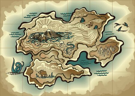 Cartoon island map template for next level game - adventures, treasure hunt. Pirate map with octopus, scorpion, sharks, snake, scull. Hand drawn vector illustration, vintage background Vector Illustratie