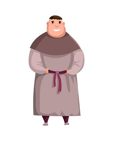 Medieval Kingdom Character. Isolated monk in historical costume on a white background. Vector personage