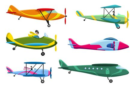 Retro airplane set. Collection of old aiplane aircraft. Different types of plane. Vector icons illustration