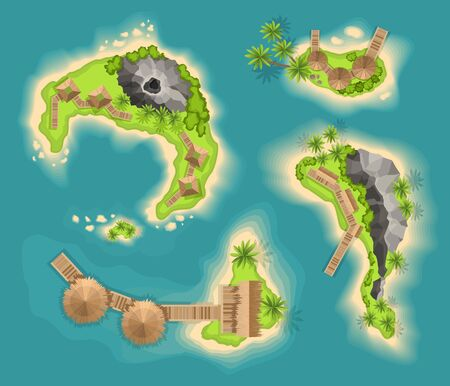 Top view islands with volcano. View from a height on a tropical island in the ocean. Vector cartoon tropical paradise sea island shore. Good sunny day Illustration