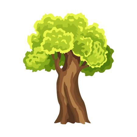 Tree with green leafage. Abstract stylized tree. Watercolor foliage. Natural illustration Иллюстрация