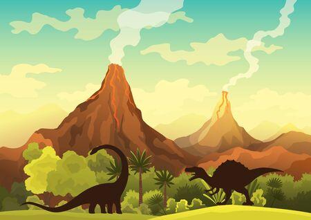 Prehistoric landscape - volcano with smoke, mountains, dinosaurs and green vegetation. Vector illustration of beautiful prehistoric landscape and dinosaurs Vecteurs
