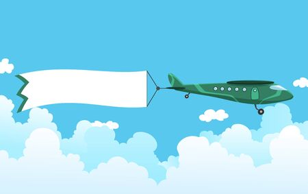 Retro airplane with a banner. Biplane aircraft pulling advertisement banner. Plane with white ribbon for message area. Vector illustration.