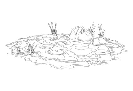 Coloring water pond with reeds and stones around. Concept of open small swamp lake in natural landscape style. Graphic design for spring season.
