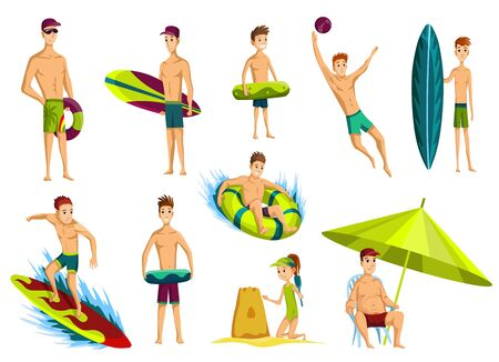 Summer beach activities. Collection of beach vacation people. Cartoon style figures.
