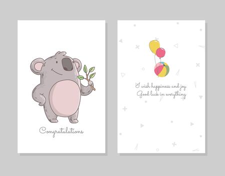 Cute koala eating eucalyptus. Hand drawn doodle poster template with airballs. Cute cartoon bear character