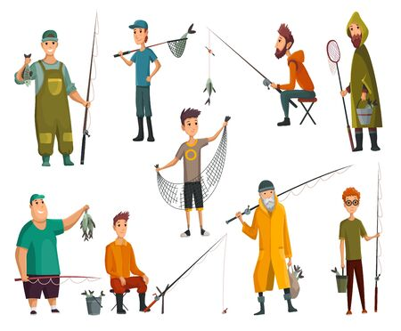 Set of fishermans fishing with fishing rod. Fishing equipment, leisure and hobby catch fish. Fisherman with fish, holding net or fishing rod. Vector illustration. 向量圖像