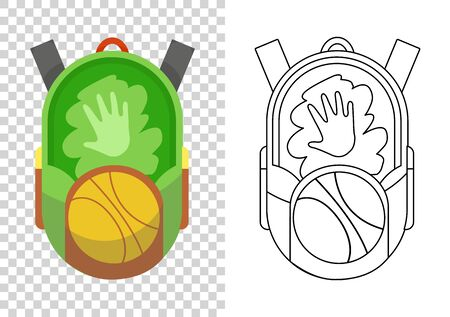 Education and study, school backpack icon. Extravagant student satchel. Colorful backpack of pupil. Kids school bag. Sketch and color style vector illustration on transparent background 일러스트
