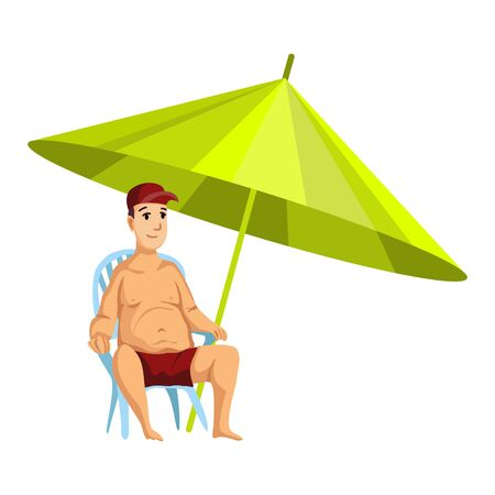 Summer beach activities. Guy sitting on a chair under a beach umbrella. Beach vacation. Cartoon style.
