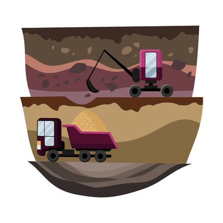 Natural resources design. Vector illustration of national treasure coal and sand. Mining quarry, heavy duty truck and a mining excavator. Equipment for high mining industry.
