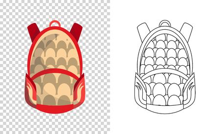 Colorful backpack of pupil. Kids school bag. Extravagant student satchel. Education and study, school backpack icon. Sketch and color style vector illustration. 일러스트