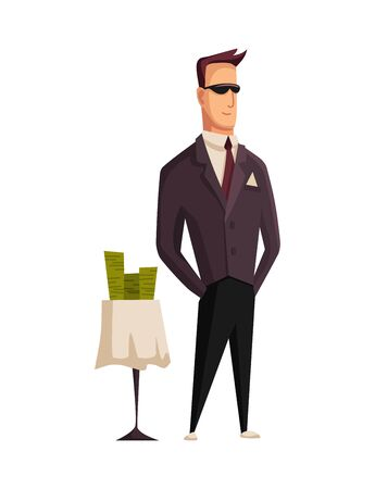 Vector cartoon rich people. Image of a styled man capitalist in a black suit and black glasses at the table with money on a white background. Business, finance, monopoly, money. Illustration
