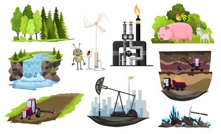 Collection of natural resources design. Vector illustration of types national treasure oil, gas, damond, ground, coal and sand, wood, pet animal, water, alternative technology. 일러스트