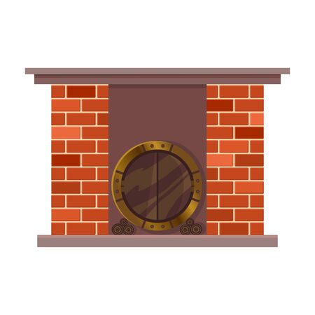 Vector home fireplace. Vintage design of stone oven with metal decorative elements. Flat icon design. Illustration isolated on white background. 向量圖像