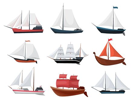 Collection of yachts, sailboats or sailing ships. Cruise travel company icons design. Vector old vessels.