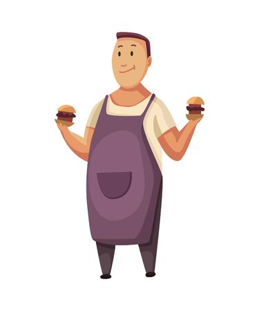 BBQ party. Man with a barbecue grill. Picnic with fresh food. Happy smiling man character cooked a barbecue grill. Vector flat cartoon illustration.