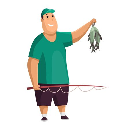 Young fat man with fish rod and fishes in his hands. Caught two fish. Fisher in hat. Successful fishing. Illusztráció
