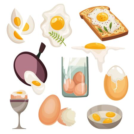 Cartoon eggs isolated on white background. Set of fried, boiled, cracked eggshell, sliced eggs and chicken eggs in a frying pan. Vector illustration. Collection eggs in various forms.