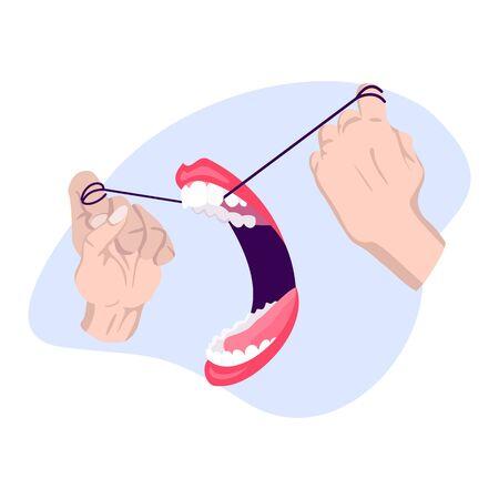 Clean teeth. Dental floss. Use hygiene floss for teeth. Oral health care concept. Mouth and teeth hygiene. Archivio Fotografico - 149606548
