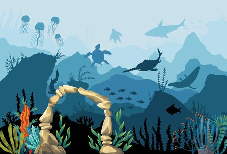 Underwater sandstone arch. Natural underwater seascape. Marine green algae part of the seabed. Coral reef with turtles, jellyfish, sharks, fish and underwater arch on a blue sea background