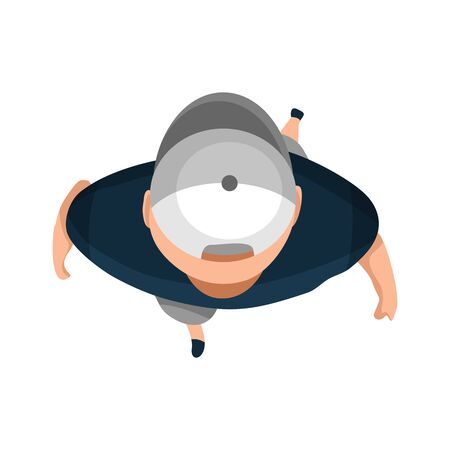 Top View People. Young man with hat on white background from top view. People walk. View from above. Simple flat cartoon vector design illustration