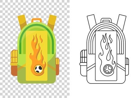 Education and study, school backpack icon. Extravagant student satchel. Colorful backpack of pupil. Kids school bag. Sketch and color style vector illustration on transparent background